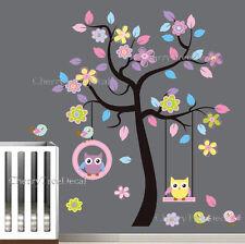 Extra large Hiboux Fleur Arbre Wall Stickers Decal Art Enfants Chambre Décor