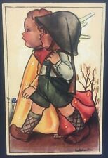Vintage Dutch Postcard Signed Schouten Cherub Soldier Boy Military Beautiful Art
