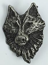 Wolf head face pin lapel hat tie tac pewter ?  brooch vintage silver color