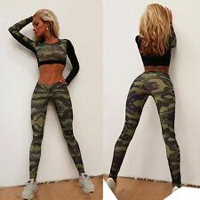 NEUF pour femmes Survêtement Camouflage Suture Pull Set sport vêtement costume