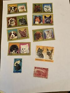 Postage stamps used cats And Dog 10 stamps
