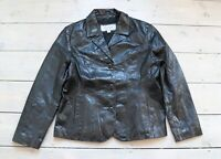 Women's Vintage WILSONS LEATHER Fitted Black 100% Leather Blazer Jacket Coat XL
