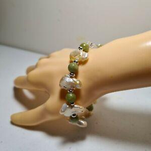 Natural Canada Jade  w/  Baroque  South Sea Biwa Pearl Bracelet in 925 Silver.