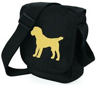 Border Terrier Bags Shoulder Bag Metallic Gold Dog on Black Handbag Mothers Day