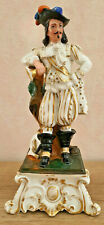 Antique Inkwell Holder Feather Characters Musketeer Porcelain Old Paris
