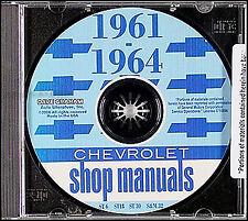 Impala Bel Air Shop Manual CD 1961 1962 1963 1964 SS Chevy Chevrolet Biscayne