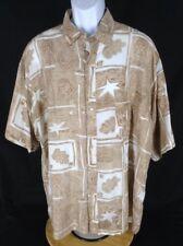 PURE brand~XL~Tropical Leaf Geometric 100% Silk Camp Shirt S/S Beige Tan White