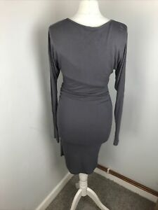 Reiss Cocoa Truffle Pencil Bodycon Ruched Side Zip Dress Long Sleeves XS 8 10