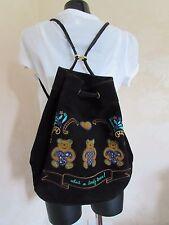 Vintage 1980s MIRAMARE Italy Black Leather Suede Duffel Teddy Bear Bag VGC