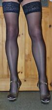 Large Size Navy 15 Denier LaceTop Satin Sheen Hold up Stockings High Quality