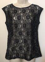 Eddie Bauer Medium Top Black Lace Short Cap Sleeve Sheer Nylon Cotton Blend