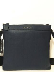 NWT Michael Kors Men's Cooper Navy Pebbled Leather Large Messenger Crossbody Bag