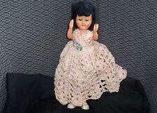 Atc Doll Vintage Hard Plastic Hand Crochet Dress Movable Arms Legs Eye Lids