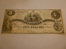 1861 $5 Confederate States of America Currency Note T-36.