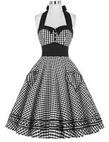 PLUS SIZE HALTER 50s 60s VINTAGE STYLE PINUP SWING EVENING PROM PARTY DRESS♡NEW