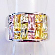 Echte Edelstein-Ringe im Band-Stil aus Sterlingsilber mit Baguette