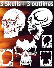 Skull Triple Set #1 Airbrush Stencil Spray Vision Template air brush