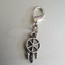 3D Sacred Native Dream Catcher Mini Tiny Silver Dangle Clip Charm pendant bhumi