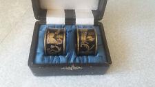 More details for vintage pair lovely black / gold enamel brass arabic napkin rings