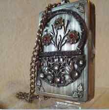 New ListingJeweled Vintage Art Nouveau Silver Compact Flower Basket Design w/ Glass Stones