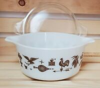 Pyrex Early American 1 1/2 Quart Casserole with Lid White Brown Detail Ovenware