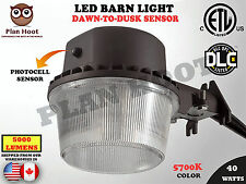 40W DUSK TO DAWN LED BARN LIGHT ETL DLC FARM GARAGE OUTDOOR SECURITY WALL