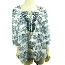 Saint Tropez West Boho Embroidered Peasant Tunic Top  Size L Blue White Summer