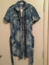 Ladies cotton shirt, blue tie dye 3/4 length shirt with stud/fasten buttons.