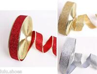 "GLITTER RIBBON trim Christmas decor - 5cm (2"") wide - RED GOLD SILVER any length"