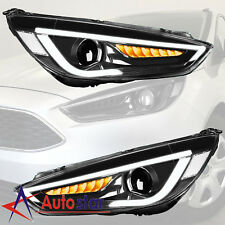 2pcs For 2015 2016 2017 Ford Focus Headlight Led DRL Halo Projector Lamp LH+RH