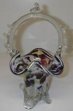 Art Glass Basket End of Day Splatter Confetti Scalloped Applied Handle 4-ftd