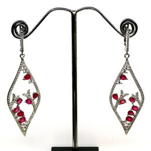 NATURAL PINK RED RUBY & WHITE CZ DROP EARRINGS 925 STERLING SILVER