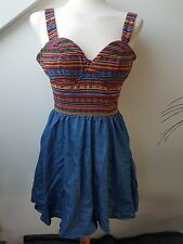 UK8 BOOHOO Sexy Ethnic Strappy Padded Bodice Fitted Skater Fashion Party Dress