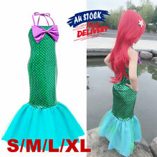 Mermaid Costume Party Princess Dress Ariel Fancy Cosplay Kids Little Set Girl