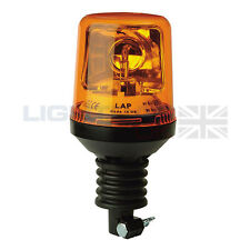 LAP Flexible DIN Pole Mount Agriculture Halogen Rotating Flashing Amber Beacon