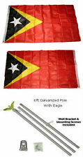 3x5 East Timor Leste 2ply Flag Galvanized Pole Kit Eagle Top 3'x5'