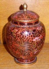 "Vintage / Old Red Maroon Burgundy Cloisonne Jar - 6 3/4"""