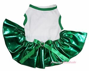 St Patrick Day White Cotton Top Bling Kelly Green Skirt Cat Pet Dog Puppy Dress