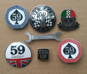 7x rockers pin cafe racer scrambler TON UP 59 club italy england ace speed tank