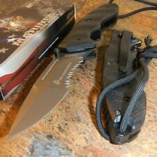 USMC Marines Spring Assisted Lanyard Tactical Black G10 Folding Pocket Knife NEW