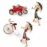 Fashion Bicycle Car Girl Umbrella Crystal Pearl Brooch Pin Women Costume Jewelry