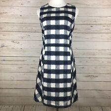 Brooks Brothers Blue White Check Sheath Dress Size 8 NWT Sleeveless Wool Blend