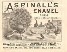 1893 ANTIQUE PRINT - ADVERT- ASPINALL'S ENAMEL, FABLE, THE DAW IN BORROWED FEATH
