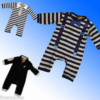 Baby Boys Romper Suit All in One Bow Tie Braces Formal  Newborn 0 3 6 9 Months