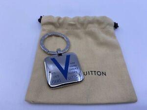 New Authentic Louis Vuitton Voyages Keychain Blue M66950 #361K