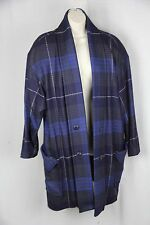 Vintage 1980 Plaid Wool Coat swing opening Made in Italy 40/8 ( actually large)