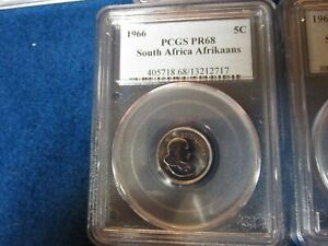 1966 South Africa Afrikaans 5 Cent PCGS PR68 Population of 1 highest ever graded