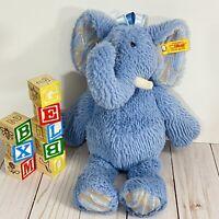 "Steiff Earz Elephant 13"" Soft Cuddly Soft Plush Toy Elephant BLUE Stuffed Animal"