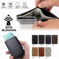 Leder NFC RFID Schutz Kreditkartenetui Herre Geldbörse Brieftasche Portemonnaie