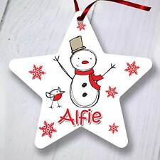 Personalised Christmas Tree Ornament Decoration - Star - White Snowman
